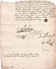 VANE, HENRY. Fragment of a Document Signed,