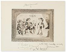 BARUCH, BERNARD. Reproduction of a cartoon by Derso and Kelen, Signed and dated by Baruch (