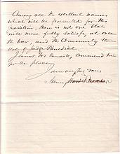 BEECHER, HENRY WARD. Autograph Letter Signed, to President Ulysses S. Grant,