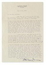 DARROW, CLARENCE. Typed Letter Signed, to Philip Leibsohn (