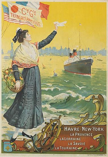 FERNAND LE QUESNE (1856-1932). CIE GLE TRANSATLANTIQUE / HAVRE-NEW-YORK. Circa 1906. 38x26 inches, 98x67 cm. Ch. Vernau, Paris.