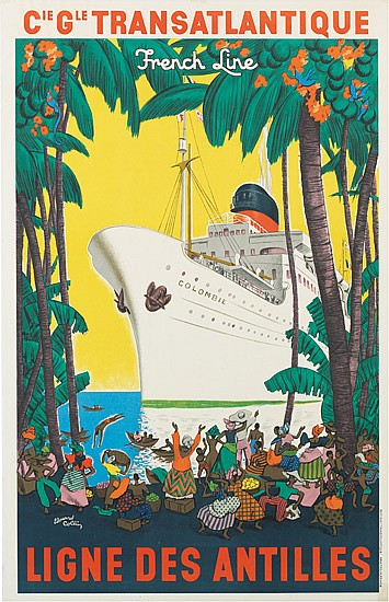 EDOUARD COLLIN (1906-1983). FRENCH LINE / LIGNE DES ANTILLES. 1950. 39x25 inches, 100x65 cm. Editions
