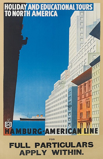 ALBERT FUSS (1889-1969). HOLIDAY AND EDUCATIONAL TOURS TO NORTH AMERICA / HAMBURG-AMERICAN LINE. 39x25 inches, 99x63 cm.