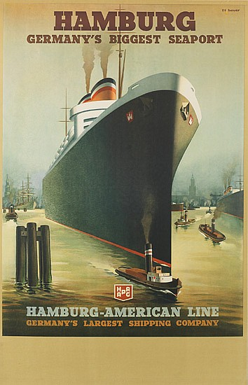 PAUL THEODORE ETBAUER (1892-1975). HAMBURG / GERMANY'S BIGGEST SEAPORT / HAMBURG-AMERICA LINE. Circa 1934. 39x25 inches, 99x63 cm.