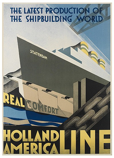 ADRIAAN JOH. VAN' T HOFF (1893-1939). HOLLAND AMERICA LINE. 1928. 43x30 inches, 110x77 cm. Lankhout, The Hague.