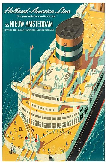 REYN DIRKSEN (1924-1999). HOLLAND AMERICA LINE / SS NIEUW AMSTERDAM. 1954. 37x24 inches, 94x61 cm. Joh. Enschede en Zonen.