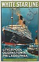 MONTAGUE BIRREL BLACK (1884-?). WHITE STAR LINE / LIVERPOOL QUEENSTOWN PHILADELPHIA [LAURENTIC.] Circa 1934. 39x24 inches, 101x63 cm. T, Montague Birrell Black, Click for value