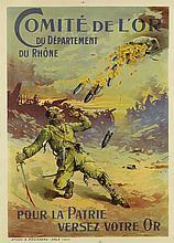FERDINAND JEAN BARBIER (DATES UNKNOWN). COMITÉ DE L'OR DU DÉPARTEMENT DU RHÔNE / POUR LA PATRIE VERSEZ VOTRE OR. 1915. 45x32 inches, 11
