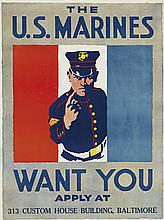 DESIGNER UNKNOWN. THE U.S. MARINES WANT YOU. 27x20 inches, 70x52 cm.