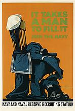 CHARLES STAFFORD DUNCAN (1892-1952). IT TAKES A MAN TO FILL IT. 1918. 42x27 inches, 106x70 cm. Schmidt Litho., San Francisco.