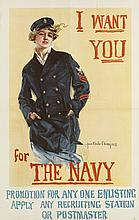 HOWARD CHANDLER CHRISTY (1873-1952). I WANT YOU FOR THE NAVY. 1917. 40x25 inches, 101x64 cm. Forbes, [Boston.]