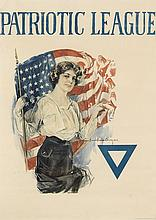 HOWARD CHANDLER CHRISTY (1873-1952). PATRIOTIC LEAGUE. 1918. 28x20 inches, 71x52 cm. The United States Prtg. & Lith. Co., N.Y.