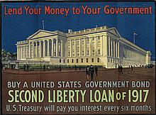 DESIGNER UNKNOWN. LEND YOUR MONEY TO YOUR GOVERNMENT / SECOND LIBERTY LOAN OF 1917. 33x45 inches, 85x115 cm. [American Lithographing Co