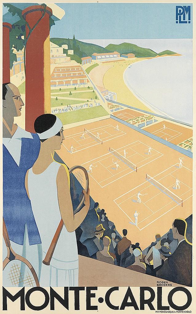 ROGER BRODERS (1883-1953). MONTE - CARLO. Circa 1930. 39x24 inches, 100x62 cm. Monegasque, Monte-Carlo.