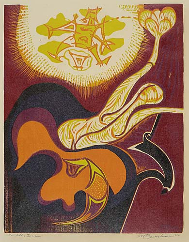 MARTIN BAROOSHIAN Kremhilde's Dream. Color woodcut on Japan paper, 1954. 403x306 mm; 15x12 inches, full margins. Edition of 8. Signed, titled and dated in pencil, lower margin. A fine impression with bright colors.