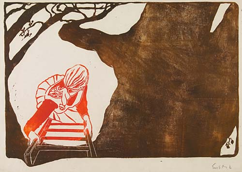 WAYNE ENSRUD Woman Climbing a Tree Ladder. Color woodcut, circa 1940. 305x435 mm; 12x17 inches, wide (full ?) margins. Edition of approximately 3. Signed in pencil, lower right. A very good, clean impression of this early and rare print.