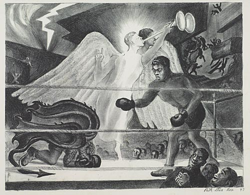 RUTH STARR ROSE Joshua fit de Battle of Jericho. Lithograph, 1943. 250x320 mm; 9x12 1/2 inches, full margins. Signed and dated in pencil, lower right. A very good impression.