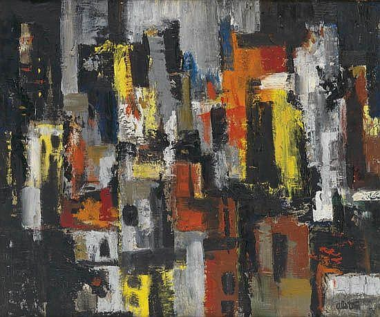 CHARLES ALSTON (1907 - 1977) Untitled (Cityscape at Night).
