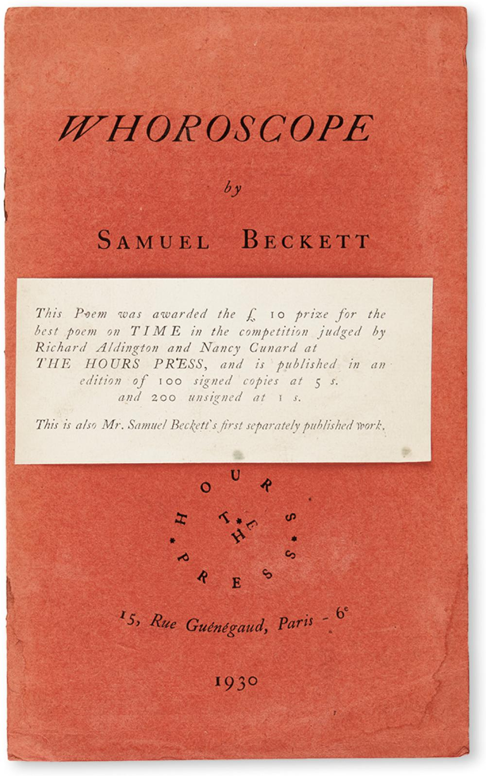 BECKETT, SAMUEL. Whoroscope.