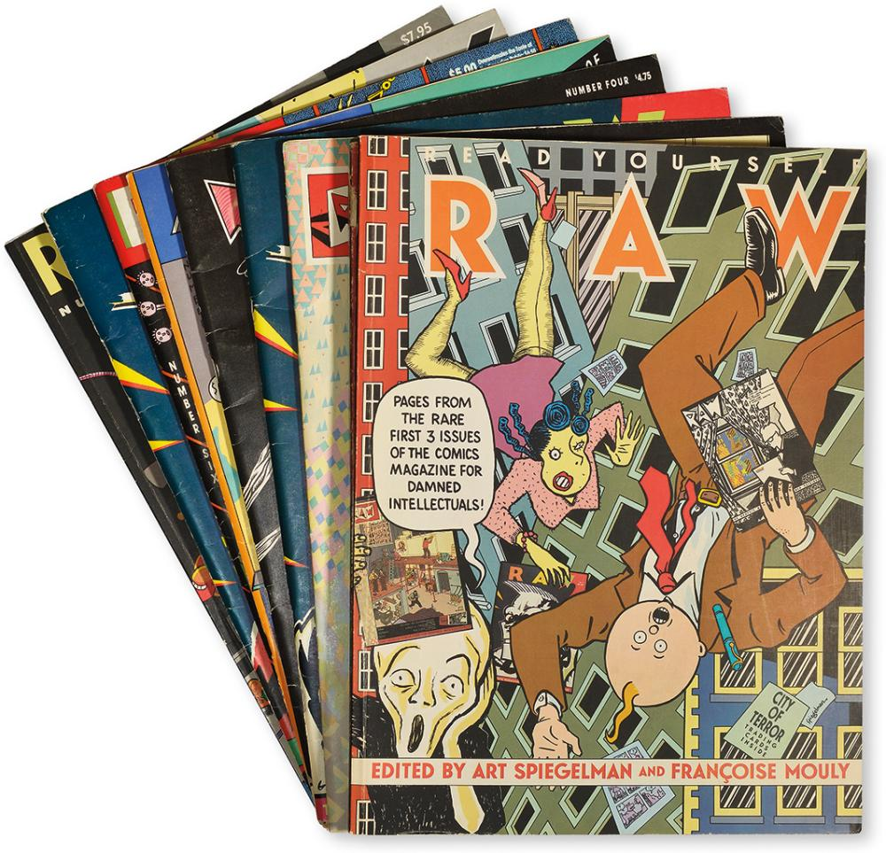 [COMIX.] Spiegelman, Art and Mouly, Françoise. (eds.). Raw. Numbers [1]-8 [and] Volume 2, Numbers 1-3.