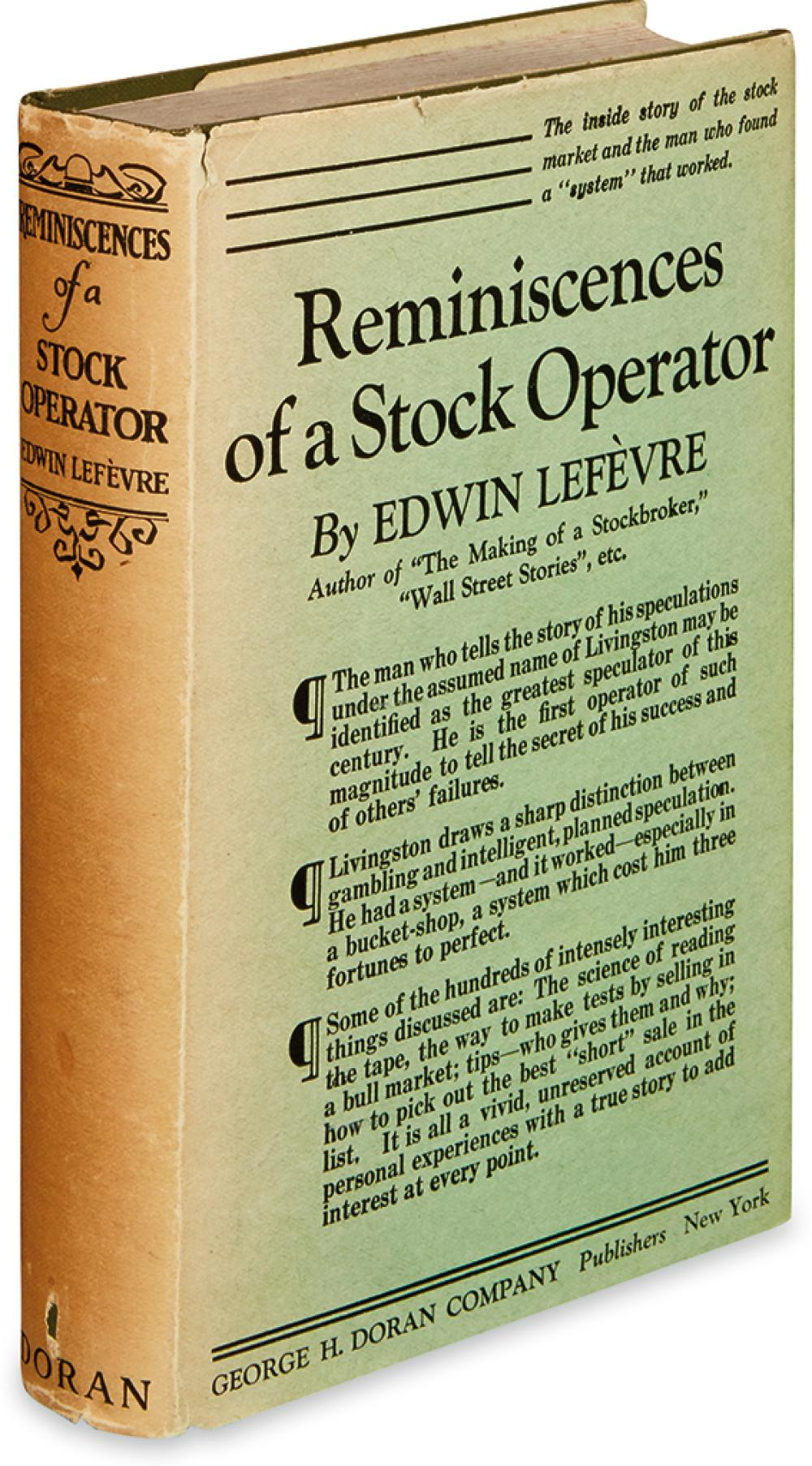 (ECONOMICS.) LEFÈVRE, EDWIN. Reminiscences of a Stock Operator.