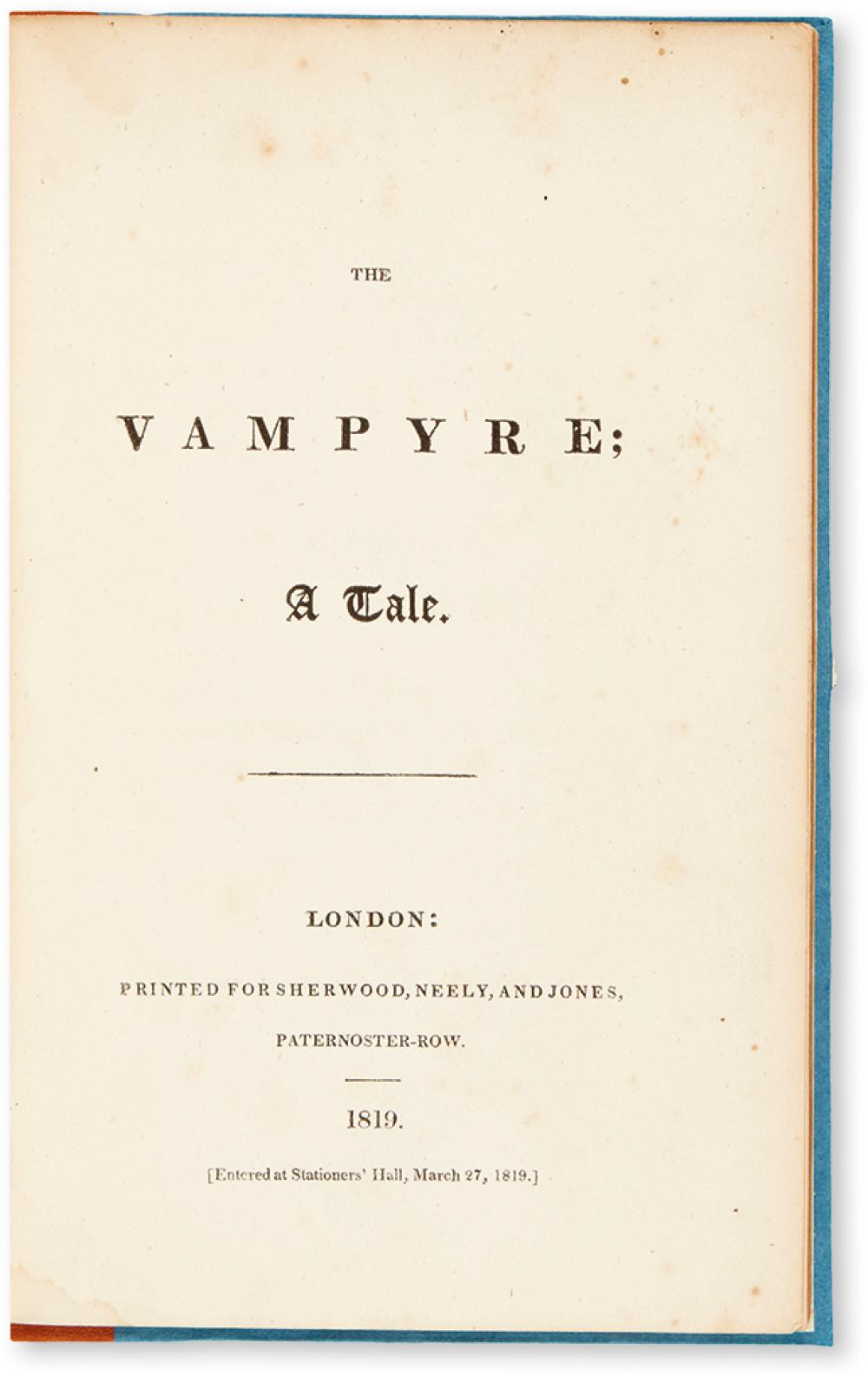 POLIDORI, JOHN WILLIAM. The Vampyre. A Tale.