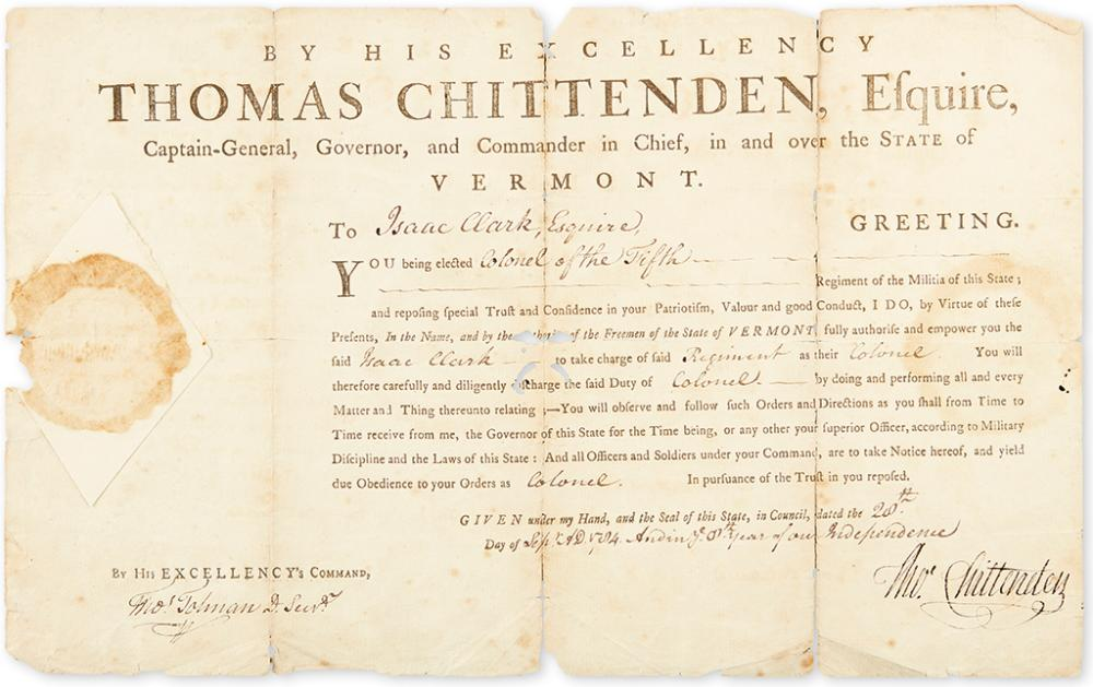 (AMERICAN REVOLUTION.) CHITTENDEN, THOMAS. Partly-printed Document Signed,