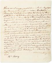 (AMERICAN REVOLUTION.) HENRY, PATRICK. Autograph Manuscript Signed, thrice (in full or