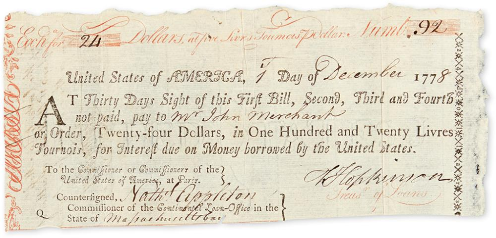 (AMERICAN REVOLUTION.) HOPKINSON, FRANCIS. Partly-printed Document Signed,