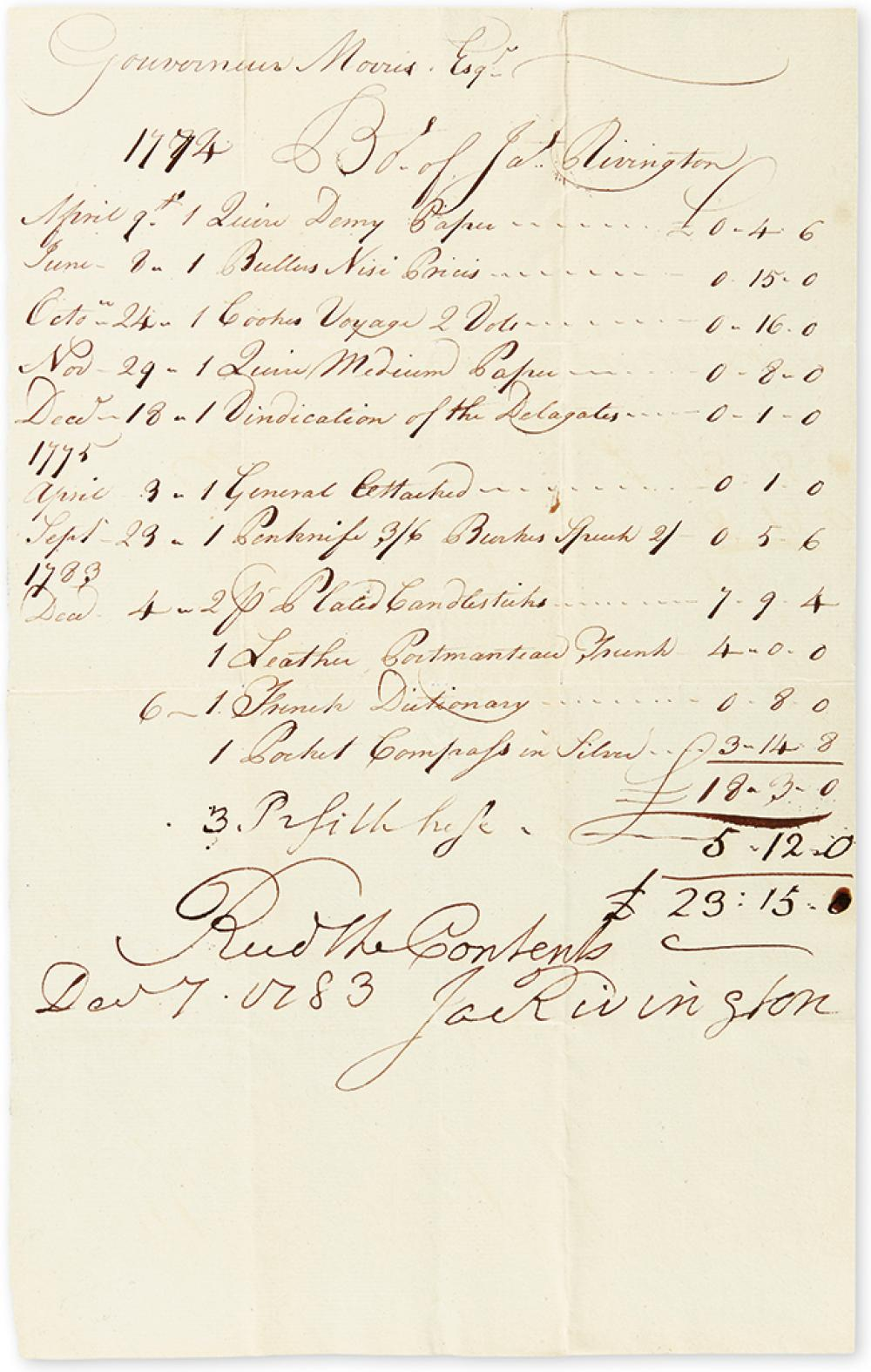 (AMERICAN REVOLUTION.) RIVINGTON, JAMES. Autograph Endorsement dated and Signed,