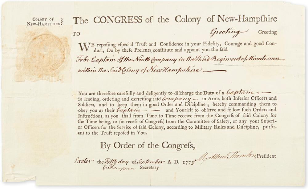 (AMERICAN REVOLUTION.) THORNTON, MATTHEW. Partly-printed Document Signed, as President of the Congress of the Colony of NH,