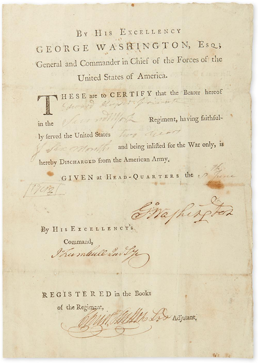 (AMERICAN REVOLUTION.) WASHINGTON, GEORGE. Partly-printed Document Signed,