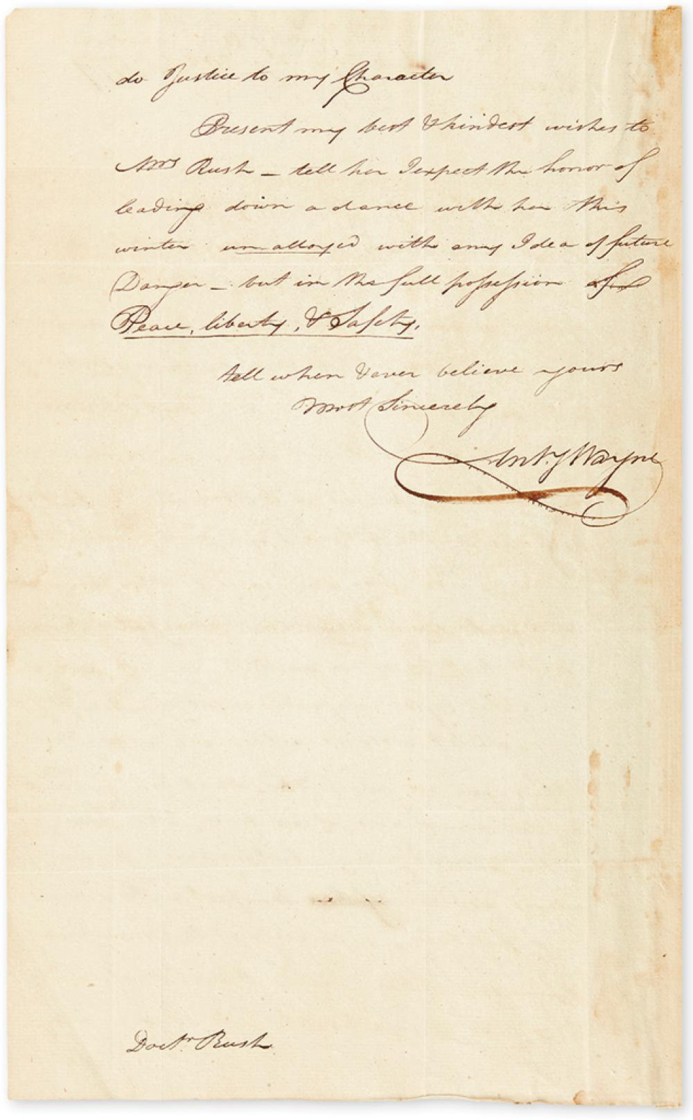 (AMERICAN REVOLUTION.) WAYNE, ANTHONY. Autograph Letter Signed,