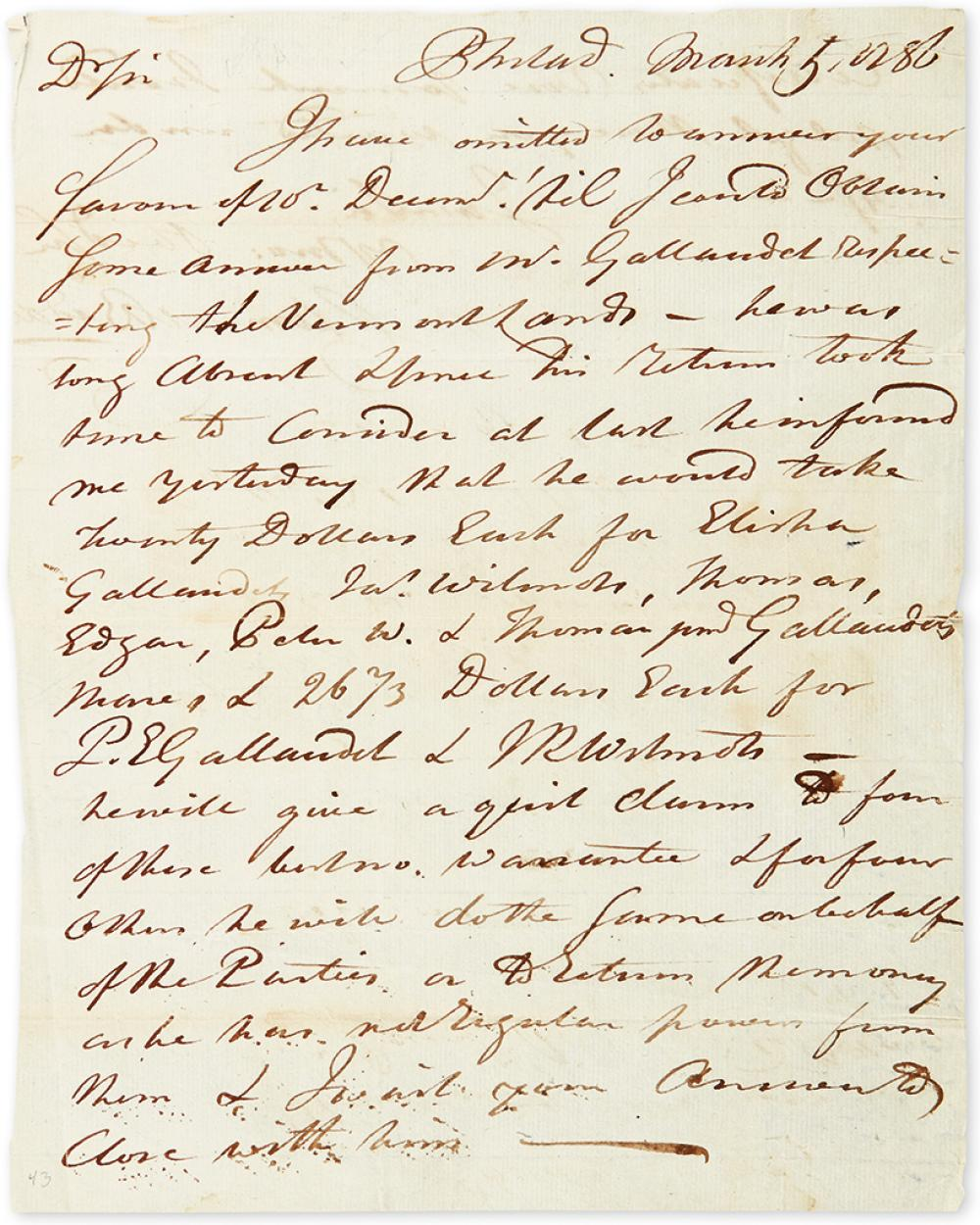 BIDDLE, CLEMENT. Autograph Letter Signed, to