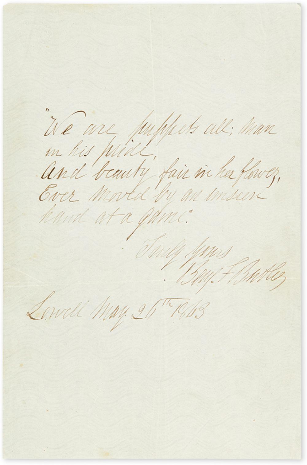 (CIVIL WAR.) BUTLER, BENJAMIN F. Autograph Quotation dated and Signed,