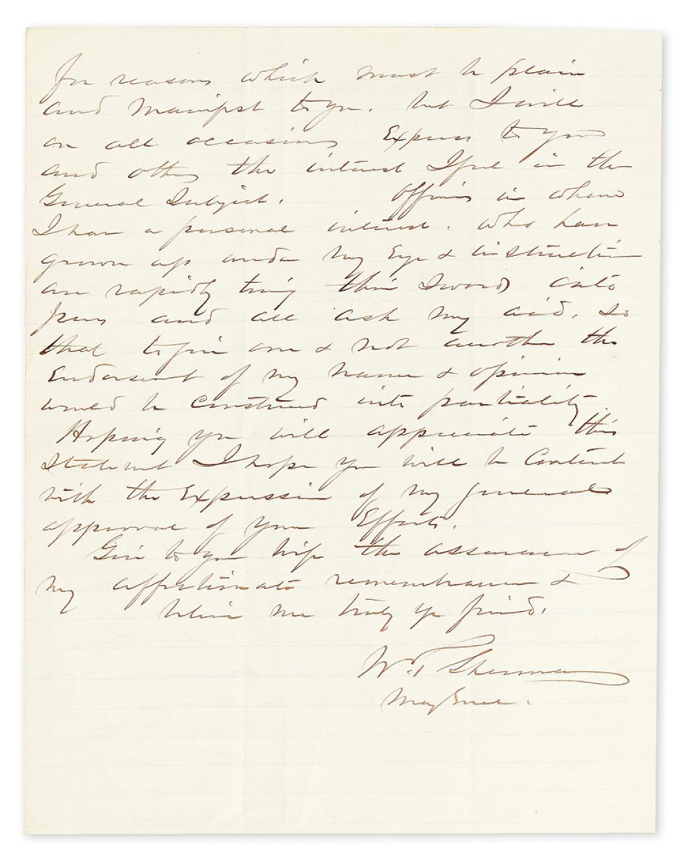 (CIVIL WAR.) SHERMAN, WILLIAM TECUMSEH. Autograph Letter Signed,