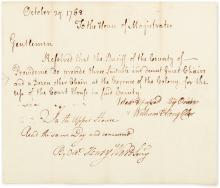 ELLERY, WILLIAM. Document Signed,