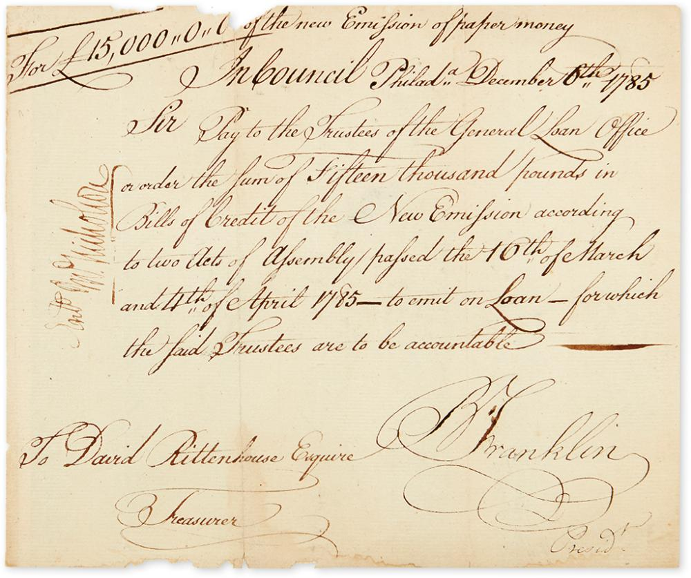 FRANKLIN, BENJAMIN. Document Signed,
