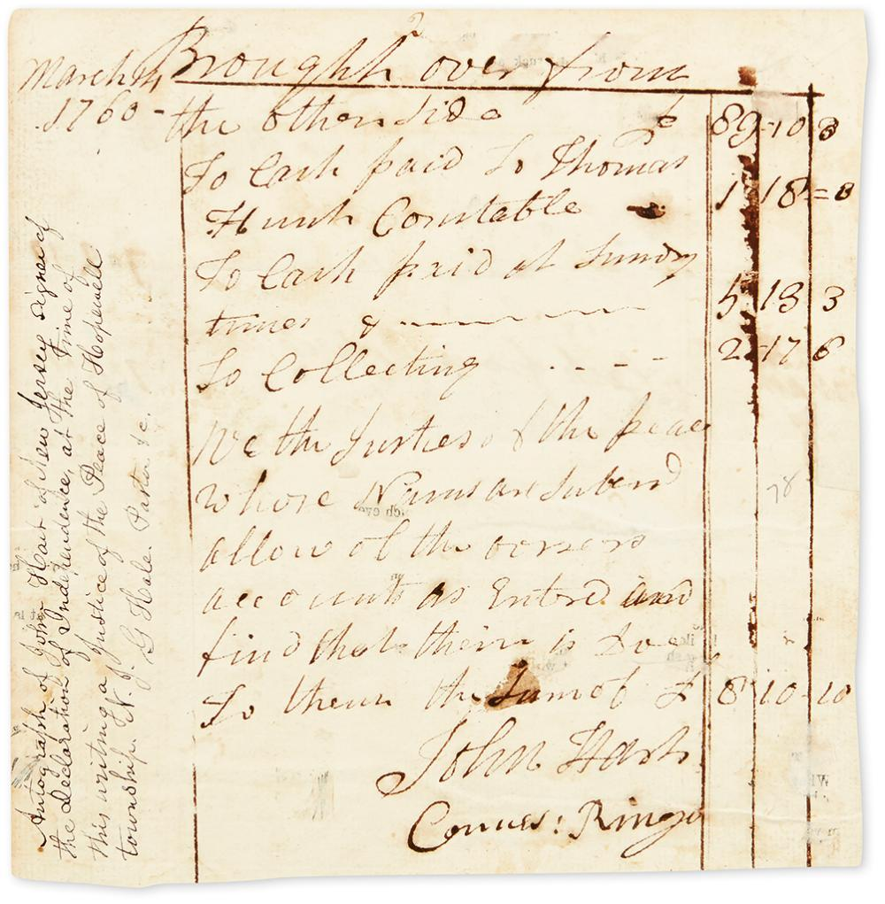 HART, JOHN. Autograph Document Signed, as Justice of the Peace,