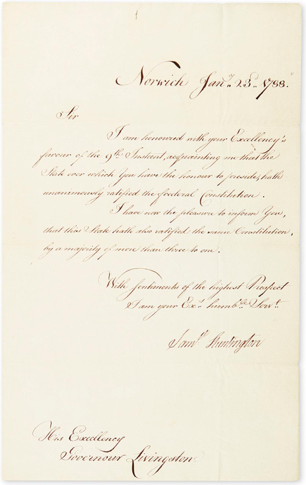 HUNTINGTON, SAMUEL. Letter Signed,