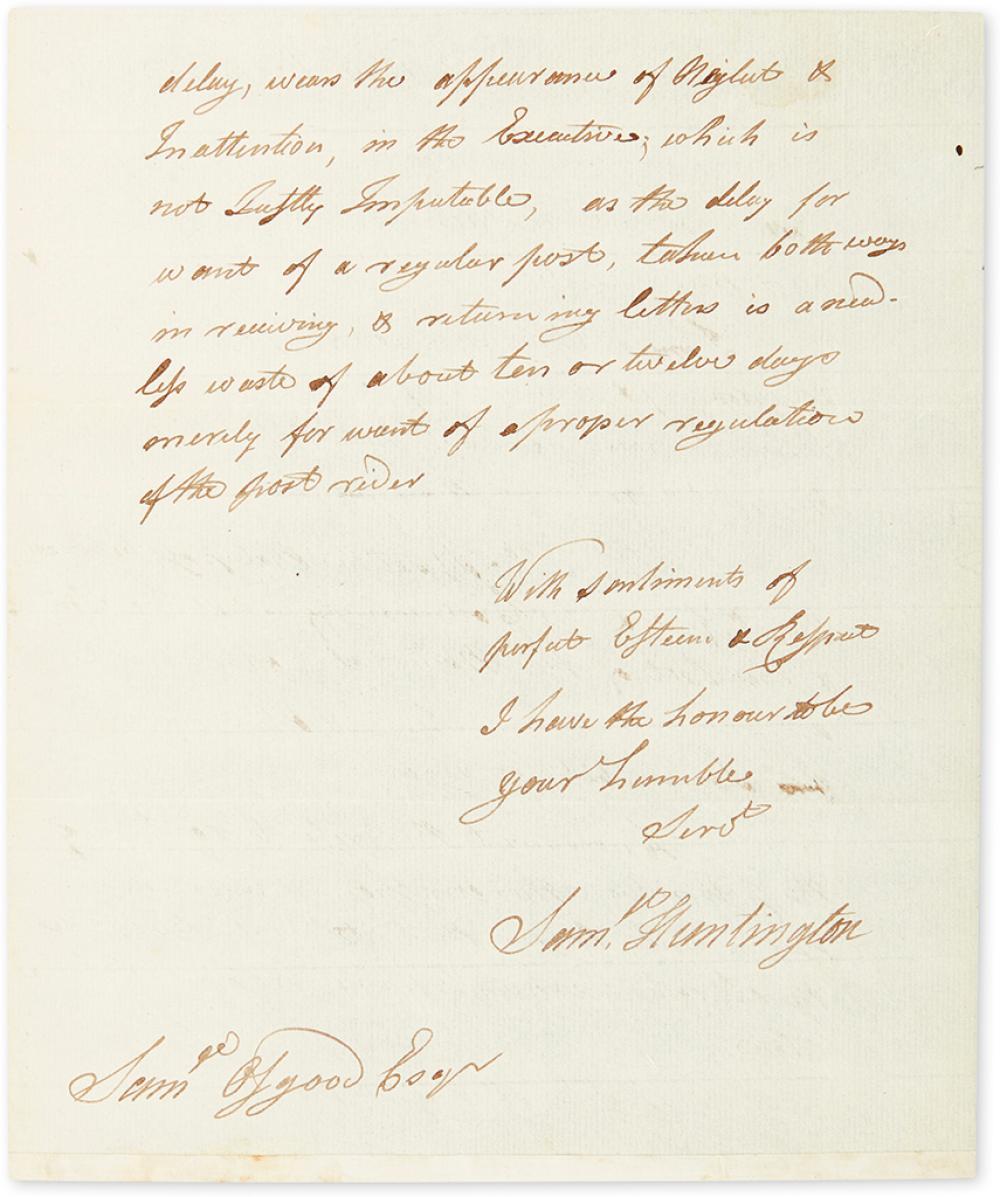 HUNTINGTON, SAMUEL. Autograph Letter Signed,