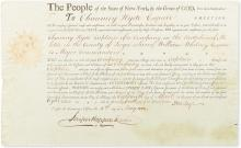 JAY, JOHN. Partly-printed Document Signed, as Governor of New York,