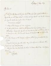 LAFAYETTE, GILBERT DU MOTIER; MARQUIS DE. Autograph Letter Signed,