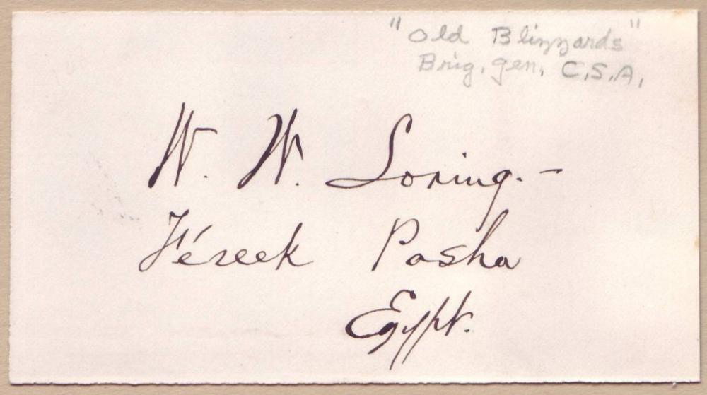 LORING, WILLIAM W. Signature and rank,