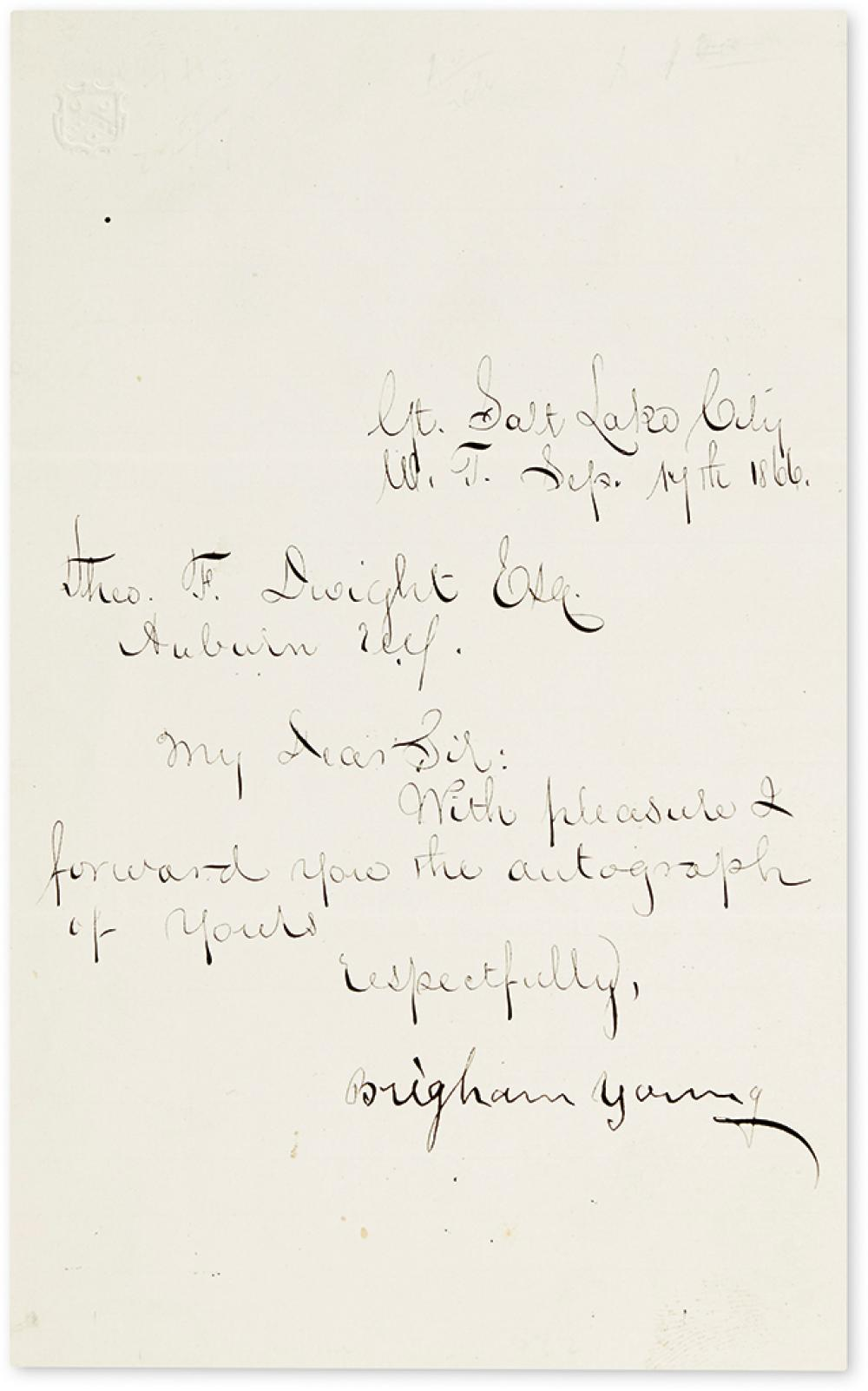 (MORMONS.) YOUNG, BRIGHAM. Brief Letter Signed, to Theodore F. Dwight: