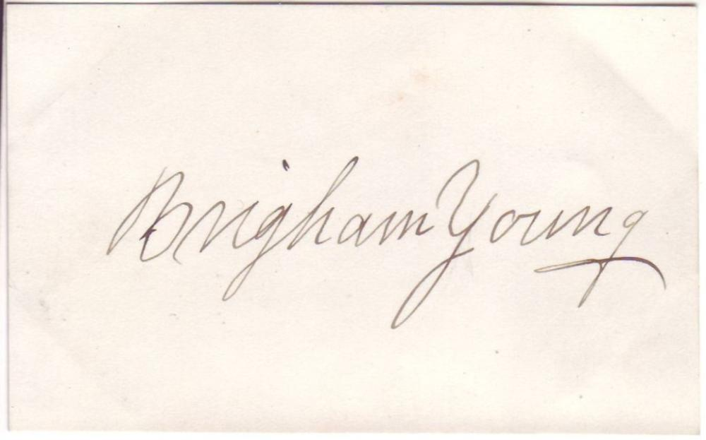 (MORMONS.) YOUNG, BRIGHAM. Signature, on a small card.