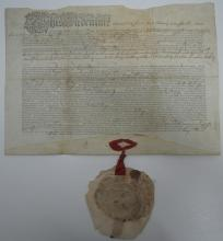 PENN, JOHN. Partly-printed vellum Document Signed, as Governor of Pennsylvania, granting George Palmer a lot in Sunbury.