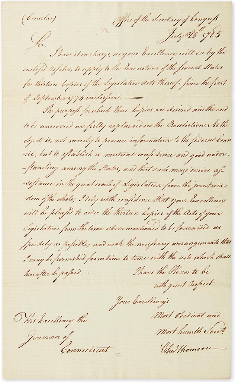 THOMSON, CHARLES. Letter Signed,