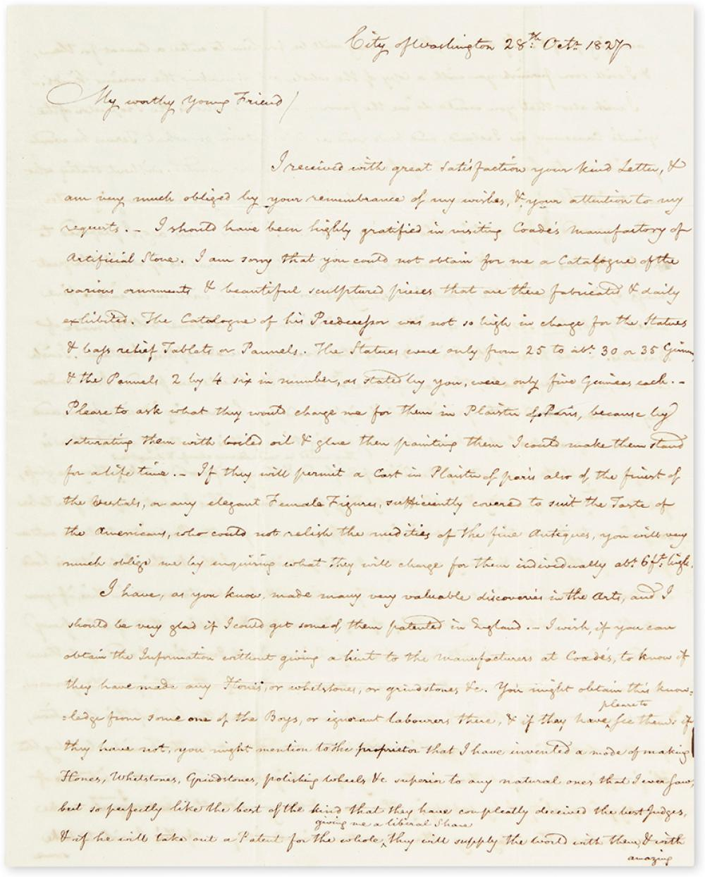 THORNTON, WILLIAM. Autograph Letter Signed, to William P. Elliott (