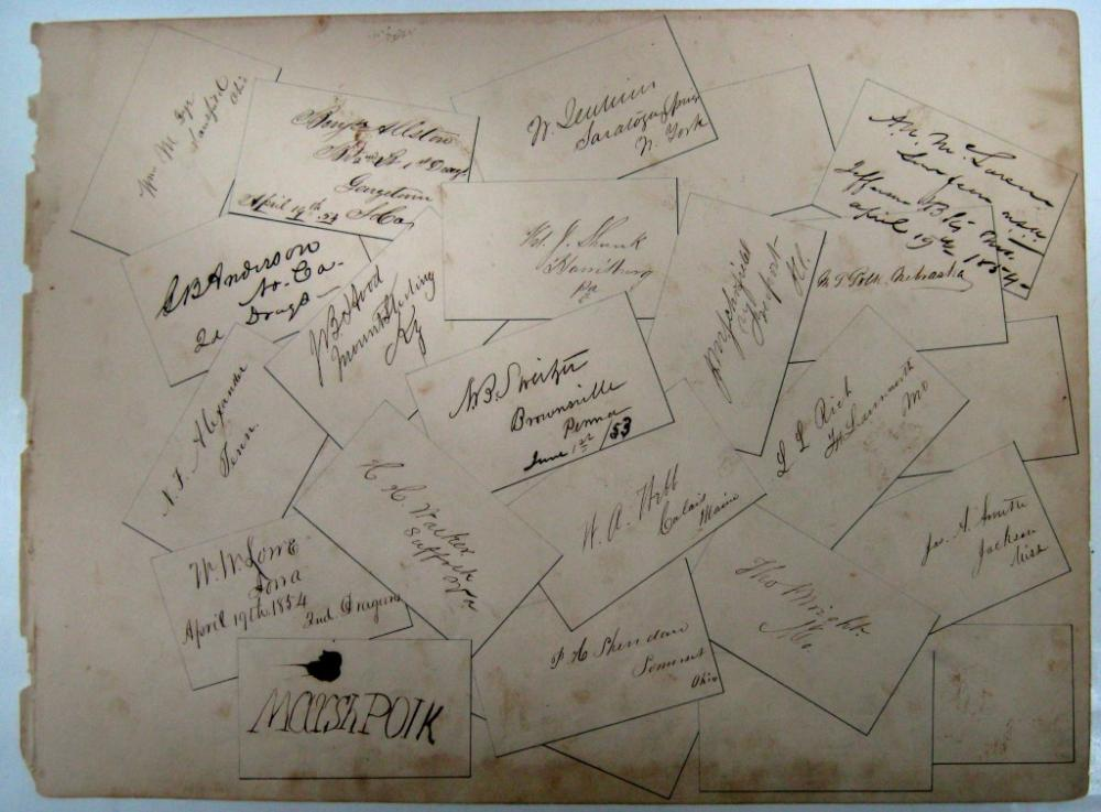(WEST POINT.) Leaf from an autograph album Signed by 18 of the 52 West Point cadets in the class of 1853,